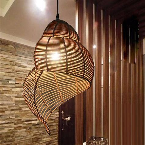 southeast asian pastoral style rattan droplight