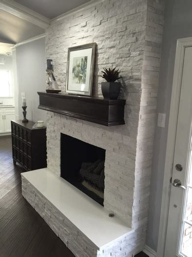 Fireplace makeover: Crystal White Quartzite 6x24