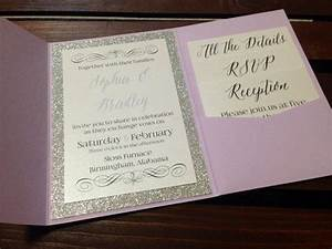 Silver glitter and lace pocket fold wedding invitation for Inexpensive glitter wedding invitations