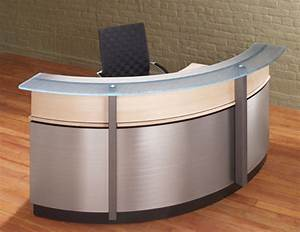 Crescent Modern Reception Desk Stoneline Design Beauty Of Modern Glass Top Desk