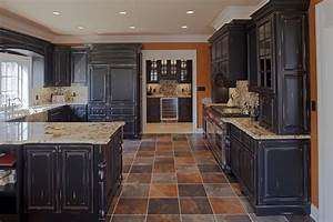 distressed-black-kitchen-cabinets-Kitchen-Rustic-with