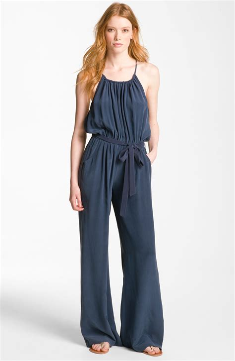 joie jumpsuit joie kamilla silk jumpsuit in blue navy lyst