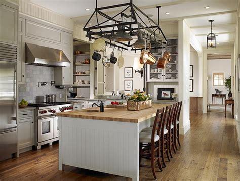 pot rack island transitional kitchen