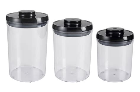oxo good grips pop  canister set  piece black cutlery