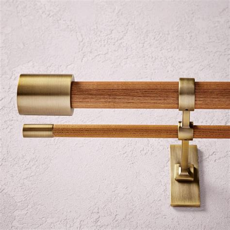 Brass Sidelight Curtain Rods by Mid Century Wooden Curtain Rod Wood Brass West