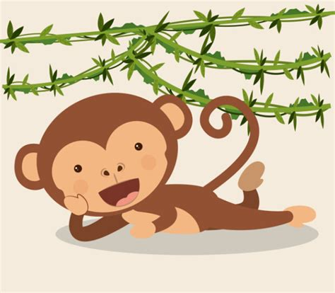 monkey with vine vector material 01 free
