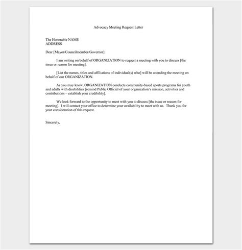 meeting appointment letter  templates  word  format