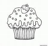 Coloring Muffin Cupcake Cupcakes Kleurplaat Verjaardag Draw Strawberry Kleurplaten Birthday Zum Nicht Chocolate Gubik Sweets Eva Az Popular Tekeningen Eten sketch template