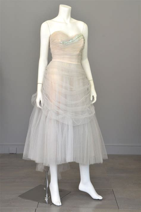 Vintage 1950s Tulle Draped Sequin Leaf Vintage Prom Dress