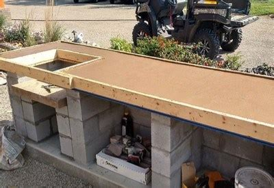 homemade concrete countertops  outdoor kitchens