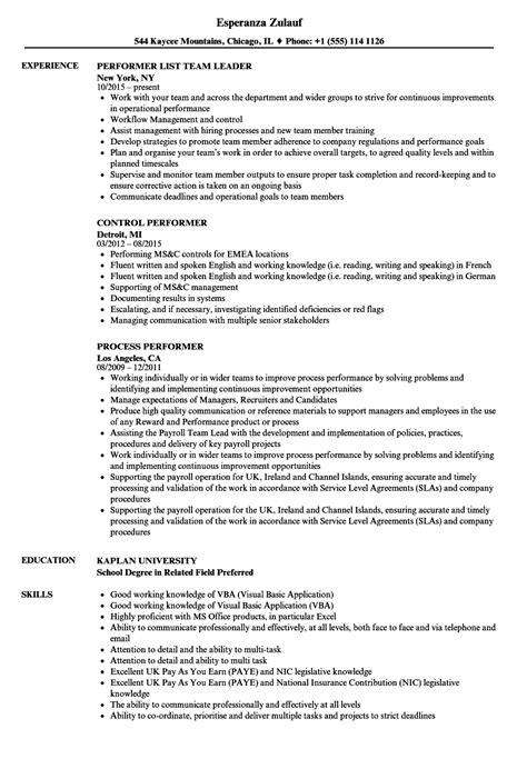 Resume Performa by Performer Resume Sles Velvet