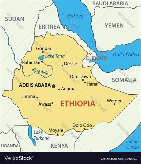 federal democratic republic  ethiopia map vector image