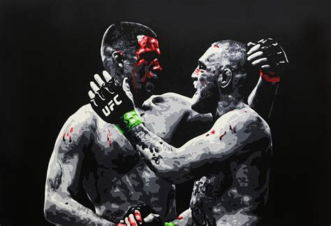 conor mcgregor v nate diaz painting by geo thomson