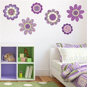 purple flower power wall decal stickers removable reusable With flower wall decals