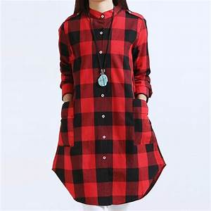women tops plus size m3xl women clothing plaid blouse With chemise a carreaux fille