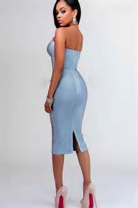 blue strapless bodycon dress oasis amor fashion