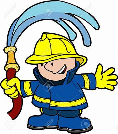 Water Fire Clipart Fighting Hose Fireman Holding