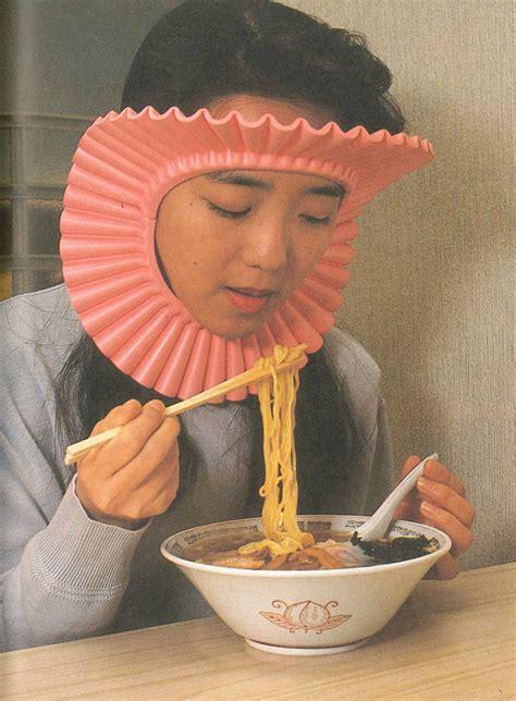 chindogu inventions japanese splash japan eating noodle invention noodles guard gusto hair guards wearing woman food