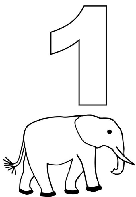 Coloring Number 1 by Number One And Elephant Coloring Page Netart