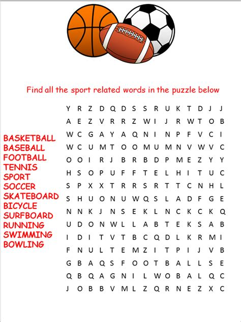 printable sports word search  kids activity shelter