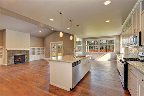 Outlook At The Luxury Modern Kitchen In A Brand New House