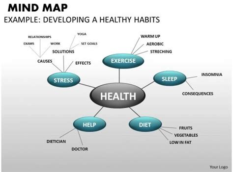 mind map health powerpoint templates backgrounds
