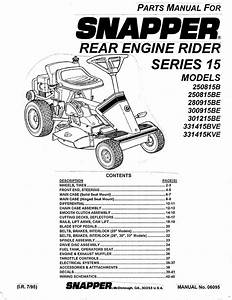 Snapper Lawn Mower 250815be User Guide