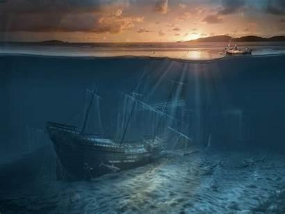 Deep Ocean Sea Background Shipwreck Wallpapers Backgrounds