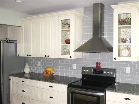 traditional true gray glass tile backsplash subway tile