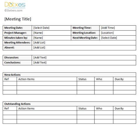 meeting notes template with items minutes of meeting sle with item list dotxes