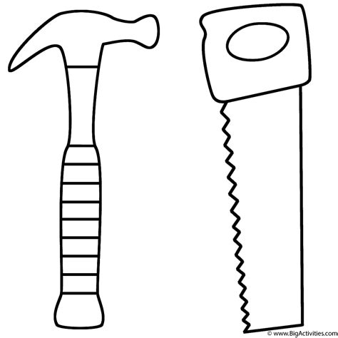 template tool hammer and saw coloring page s day