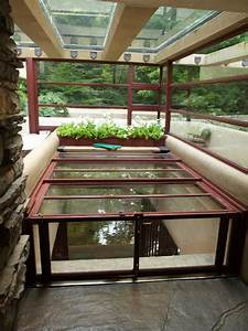 Fallingwater pictures: hatchway stairs to stream (Frank ...