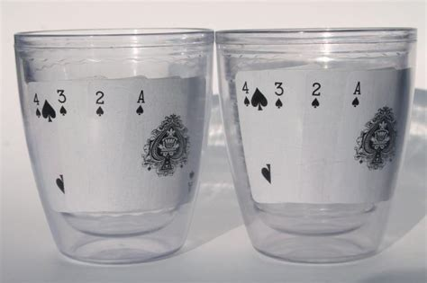 Tervis type insulated clear plastic tumblers, poker