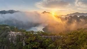Chungjuho, Lake, With, Fog, Mountain, South, Korea, Hd, Nature