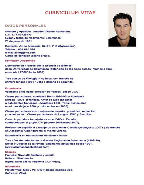 Curriculum Vita Or Vitae by Curriculum Pronto Da Compilare Newhairstylesformen2014