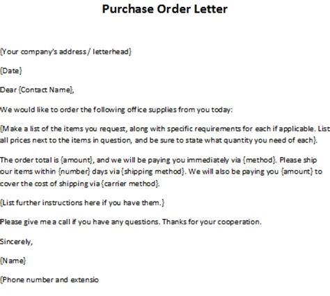 order letter sample purchase order letter