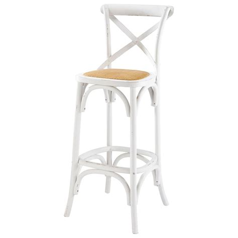chaise de bar en rotin et bois blanc tradition maisons du monde