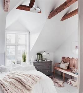 1001 idees deco de chambre sous pente cocoon With chambre sous combles couleurs