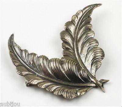 vintage large cini sterling silver  floral double leaf