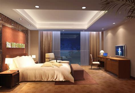 plafond en platre chambre a coucher beige bedroom design with charming recessed ceiling light