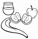 Coloring Honey Apple Hashanah Rosh Sheet Results Popular sketch template