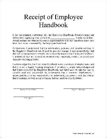 Free Basic Employee Handbook Receipt   Business   Employee