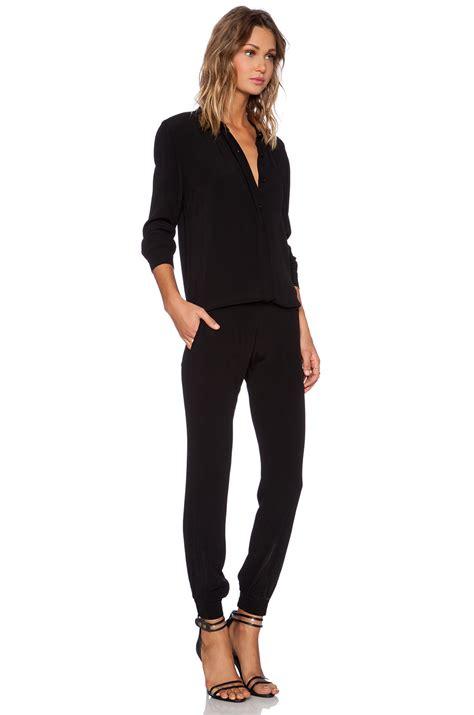 black sleeve jumpsuit monrow crepe sleeve jumpsuit in black lyst