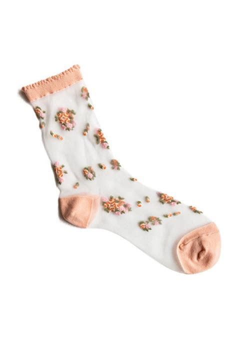 Floral Sheer Socks socks sheer floral color see through pink