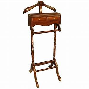 Valet Stand Mahogany With 2 Drawers Coat Hanger