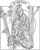 Coloring Printable Bigfoot Pages Sasquatch Yeti Colouring Morian Template Etsy Foot Mythical Creatures Drawings Footprints Monster Weird Designlooter Templates Cryptids sketch template