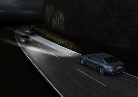 volvo truck head audi demonstrates effects of matrix led headlights video