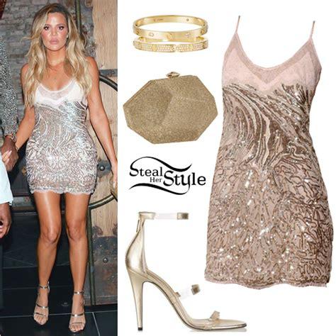 Khloe Kardashian: Sequin Slip Dress, Gold Sandals | Steal ...