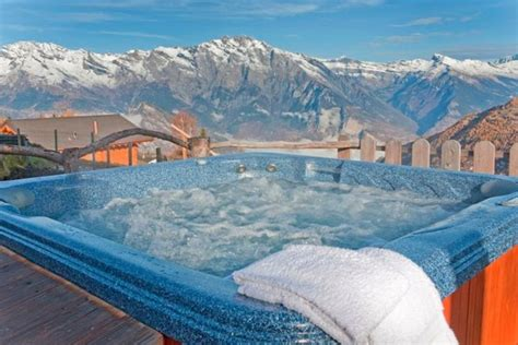 ski chalet  la tzoumaz  bedrooms jacuzzi hot tub