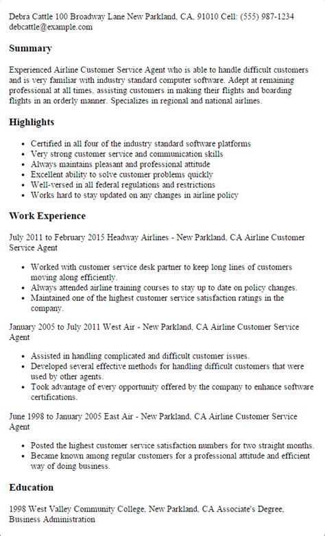 Resume For Airline by Resume For Airline Customer Service Airport Passenger